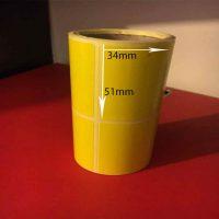 لیبل رنگی زرد سایز ۳۴ × ۵۱